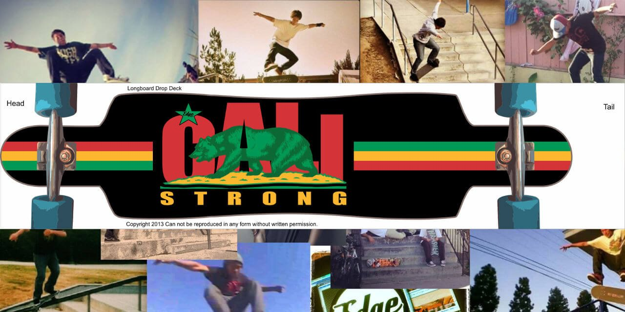 CALI Strong Rasta Skateboard Longboard Drop Deck