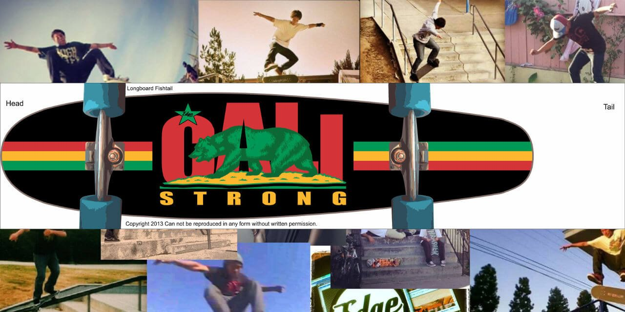 CALI Strong Rasta Skateboard Longboard Fishtail