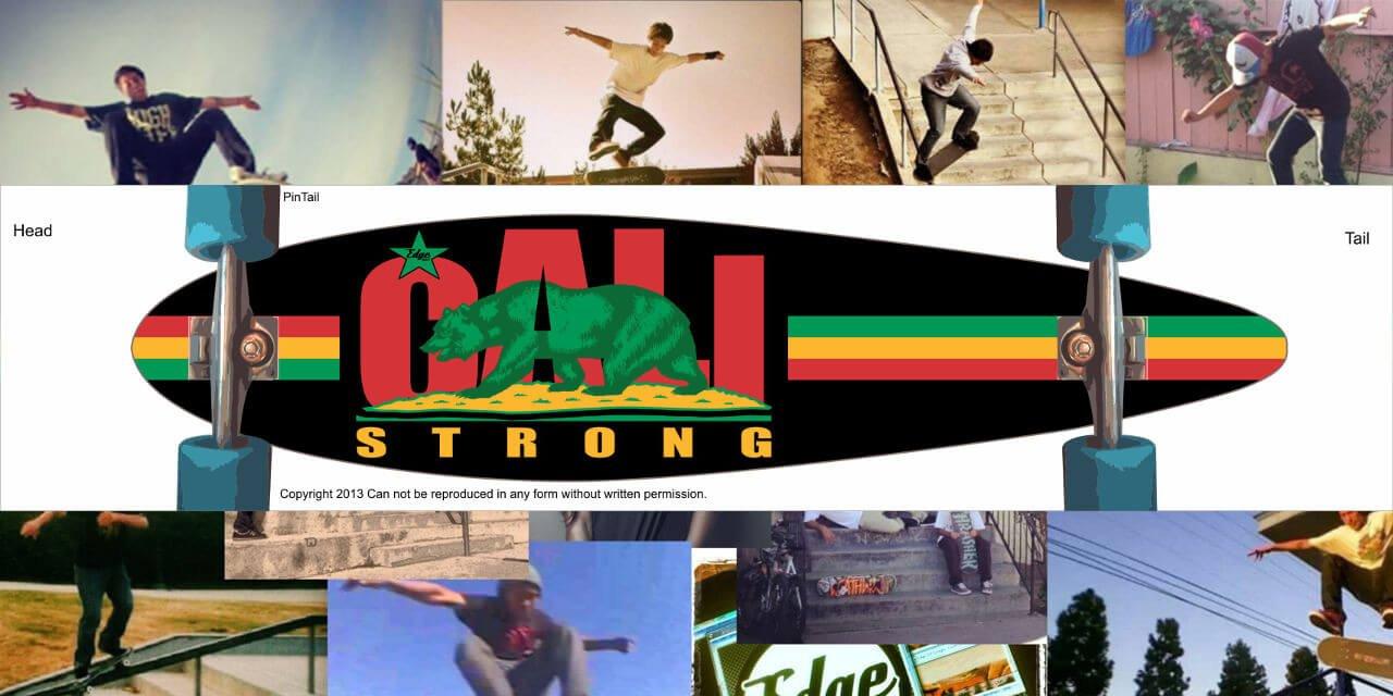 CALI Strong Rasta Skateboard Longboard Pintail