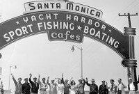Skateboarding in Santa Monica, California in the 50s