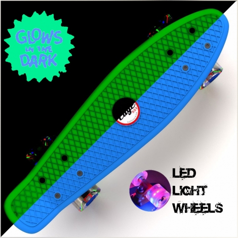 Glow-in-Dark Blue Penny Style Skateboard 22″ Mini Cruiser & LED Light Wheels