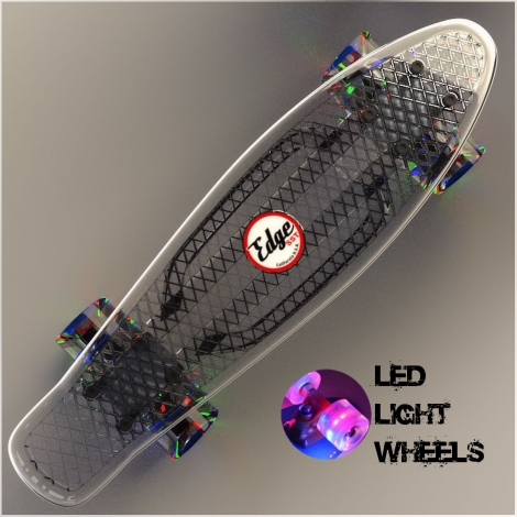 Clear Penny Style Skateboard 22″ Mini Cruiser & LED Light Wheels