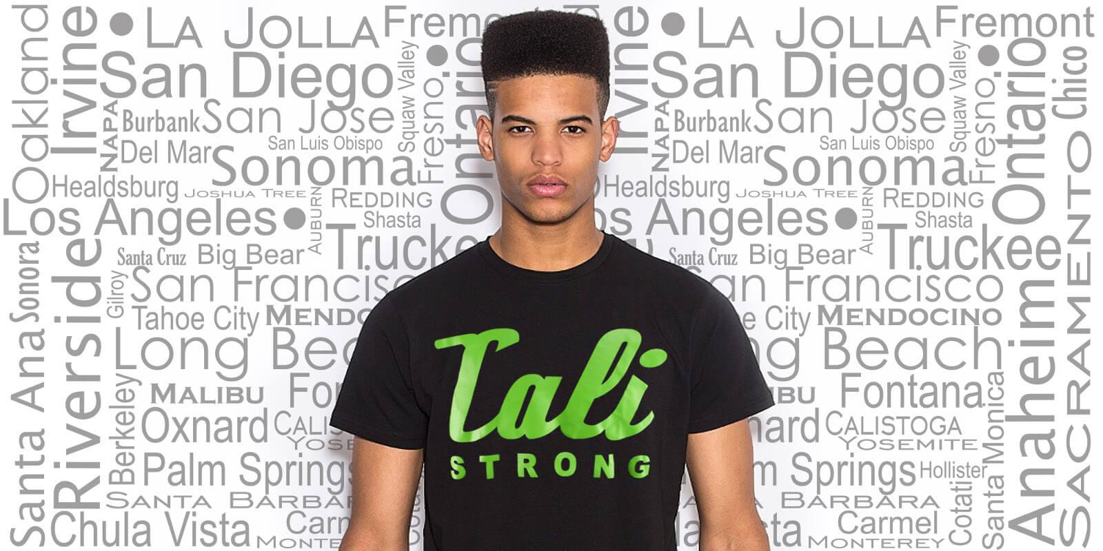 CALI Strong Green Signature Black T-Shirt