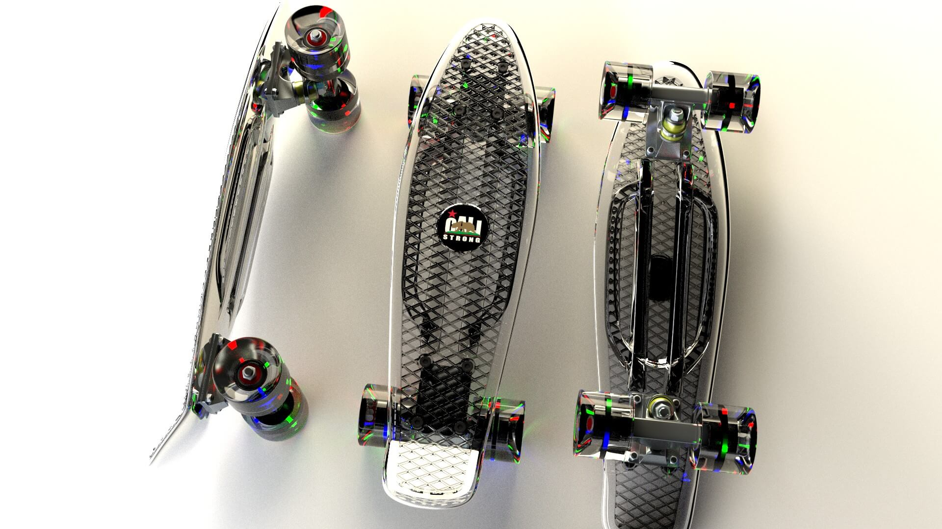 CALI Strong Crystal Clear Banana Board With LED Light Wheels