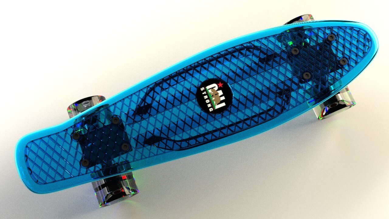 Blue CALI Strong Clear Penny Board Style with LED Light Wheels