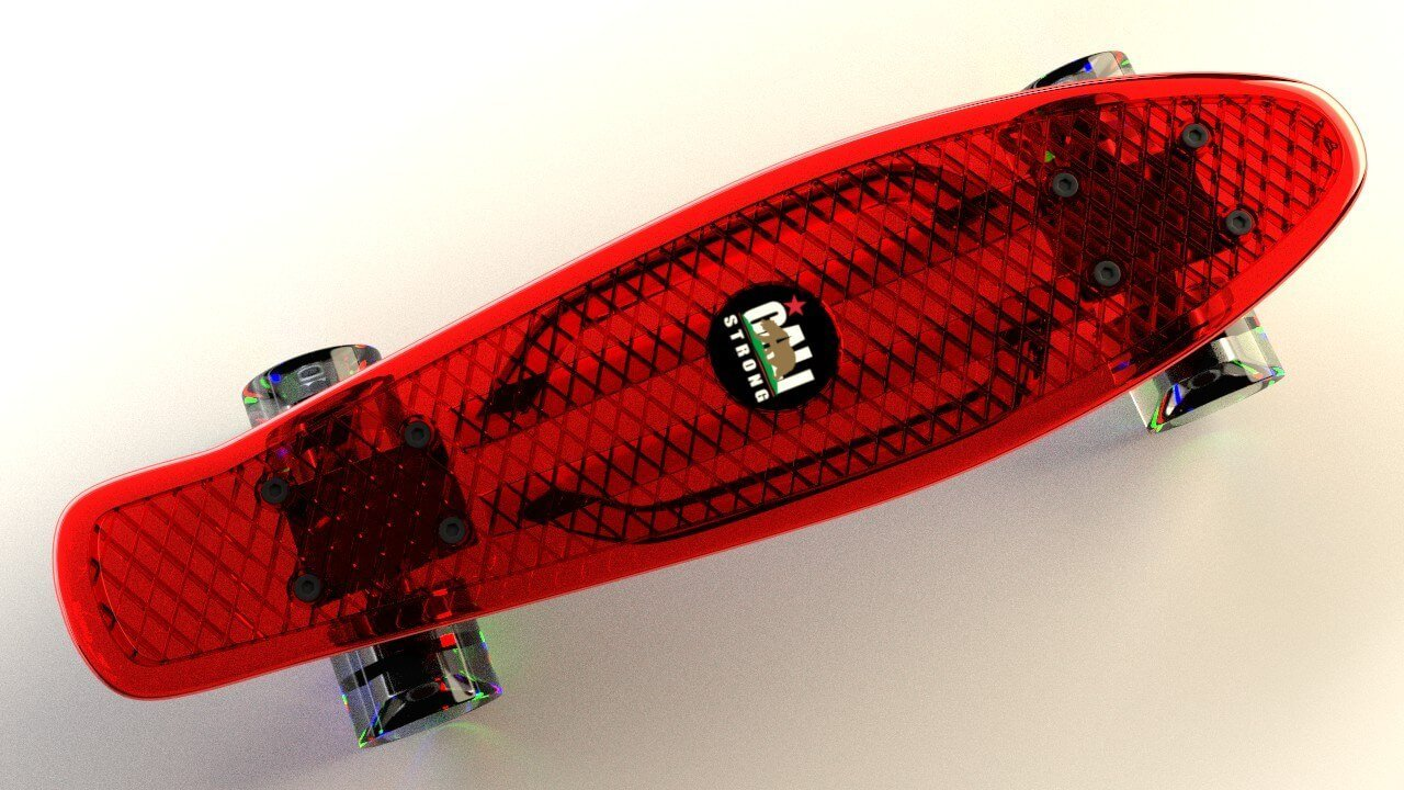 Red CALI Strong Clear Penny Board Style with LED Light Wheels