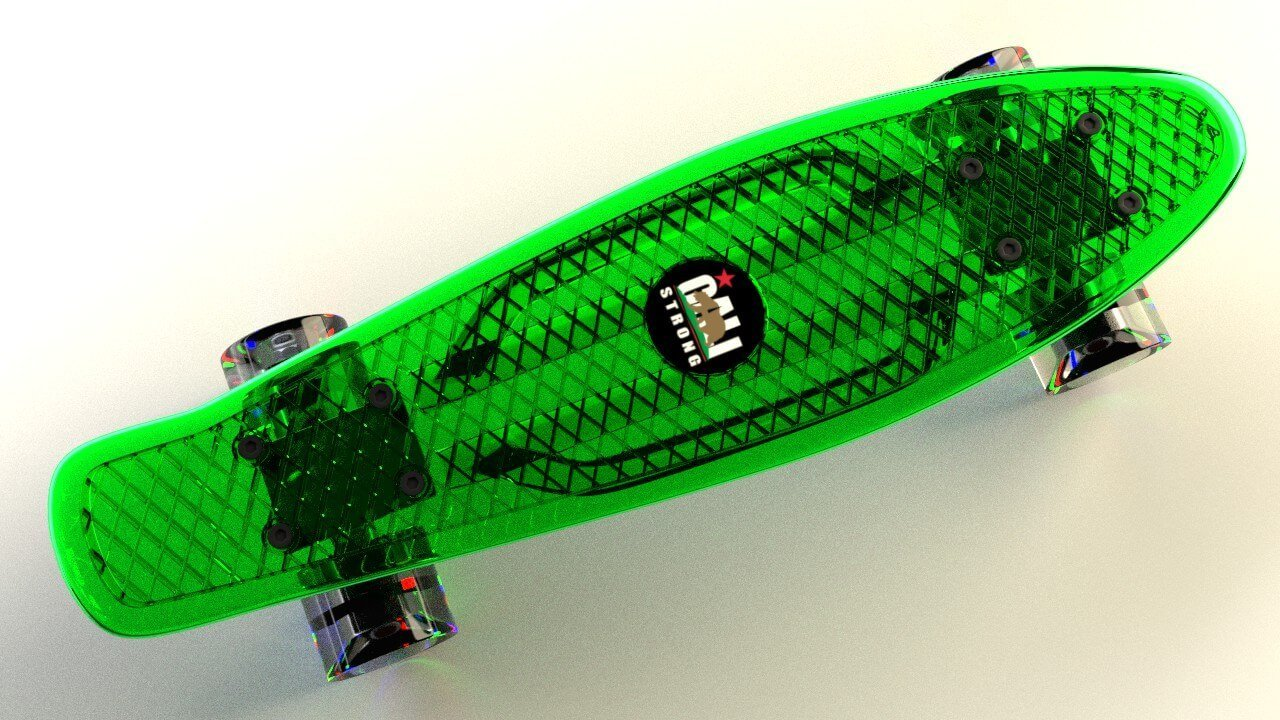 Green CALI Strong Clear Penny Board Style with LED Light Wheels