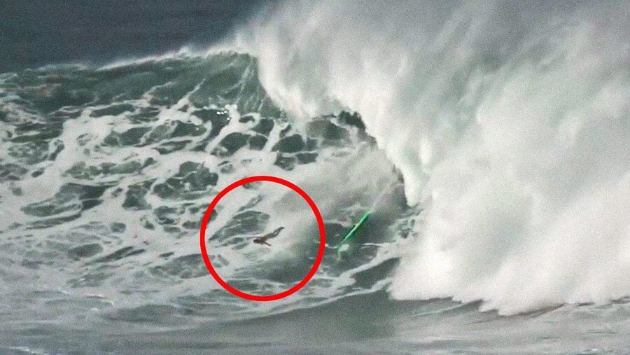 Professional Surfer Garrett McNamara Mega Wipeout At Mavericks