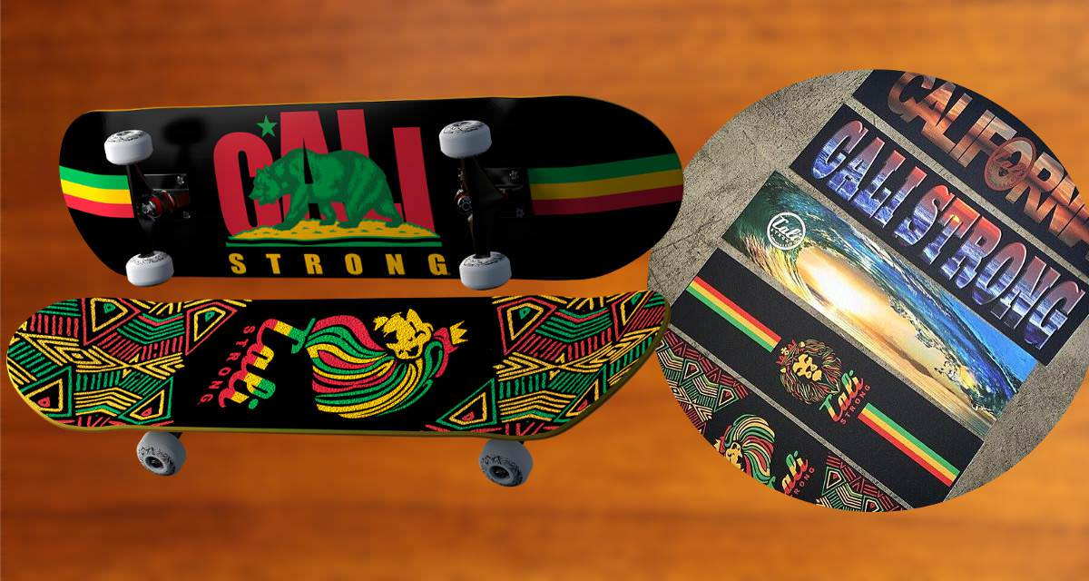 CALI Strong Full Color Skateboard Grip Tape Is Durable & Grippy