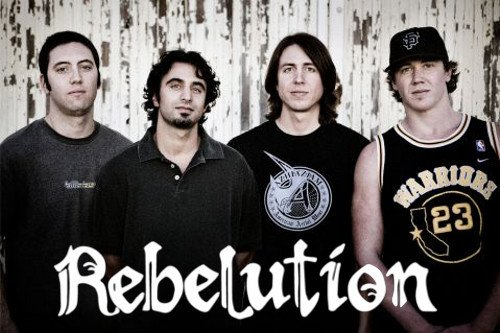 Rebelution are Eric Rachmany (guitar and lead vocals), Rory Carey (keyboard), Marley D. Williams (bass) and Wesley Finley (drums)