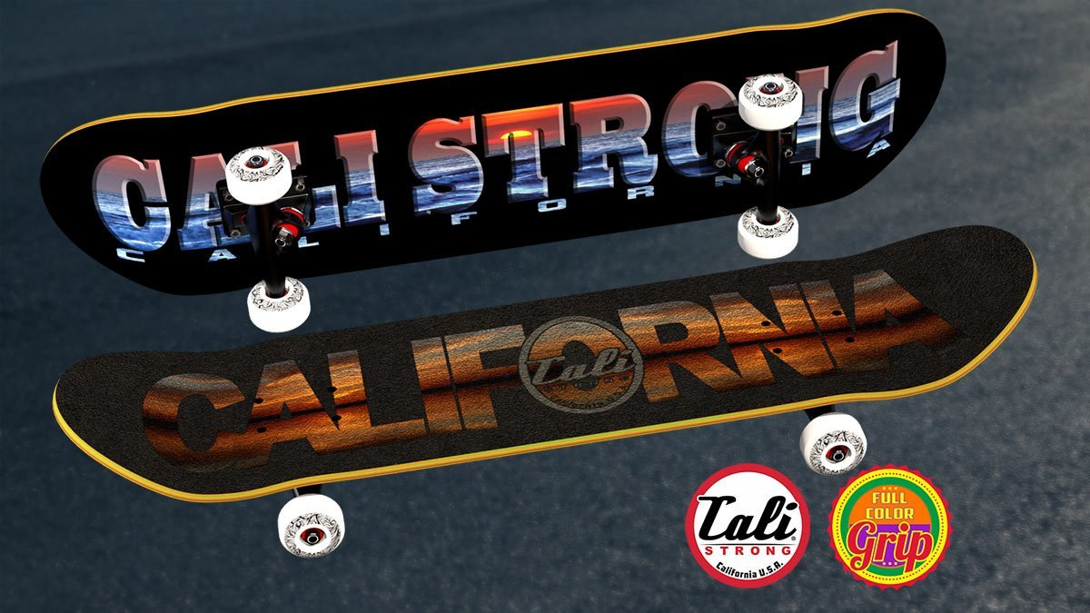 California Sunset Full Color Grip Tape on the CALI Strong Sunset Skateboard.
