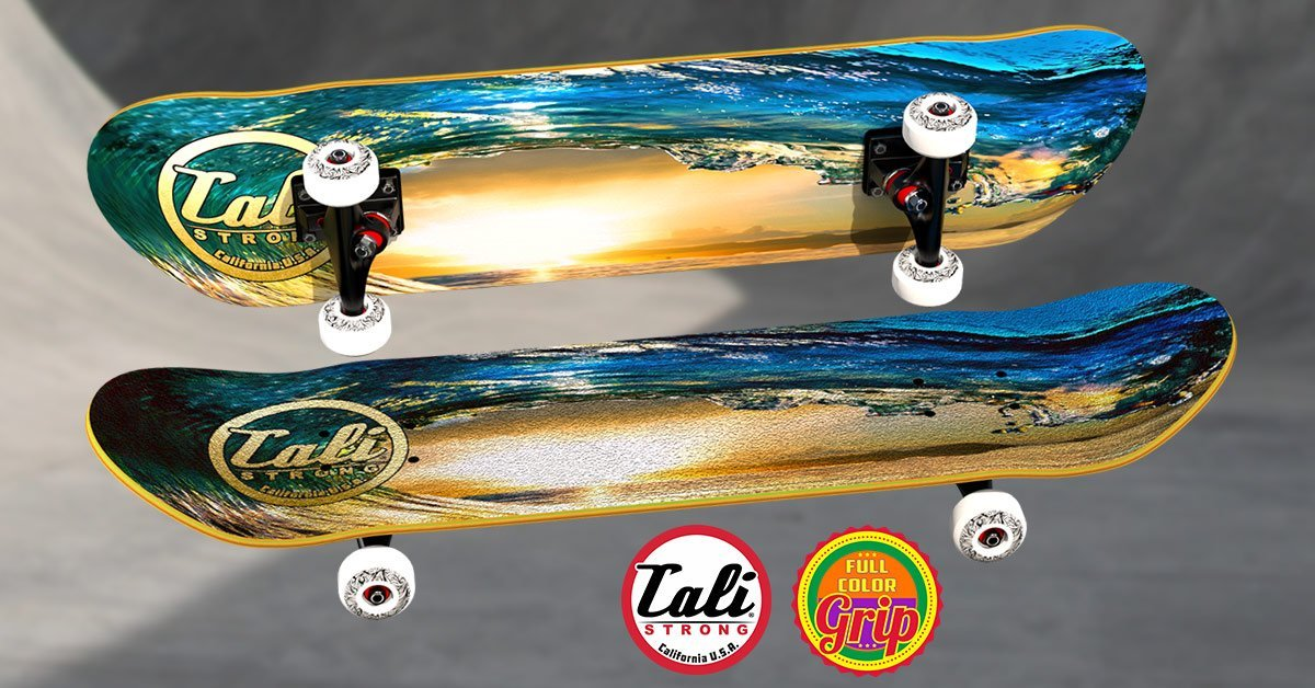 Endless Waves: CALI Strong Wave Full Color Grip Tape on the CALI Strong Wave Skateboard.