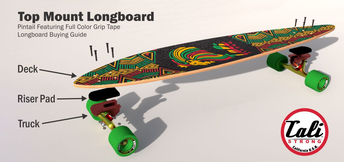 Top Mount Longboard Pintail with Full Color Grip Tape Diagram