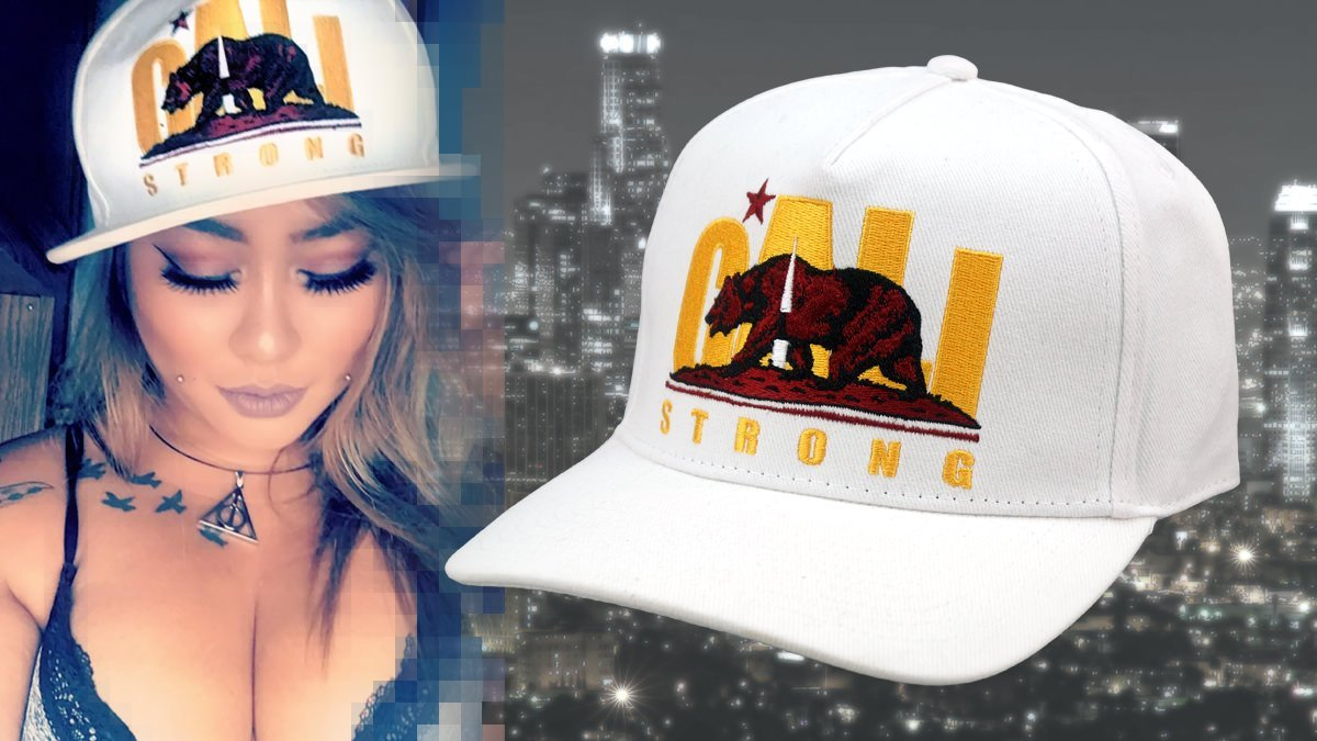 CALI Strong Original Trojan White Curved Brim Snapback Worn By Sandie Devito