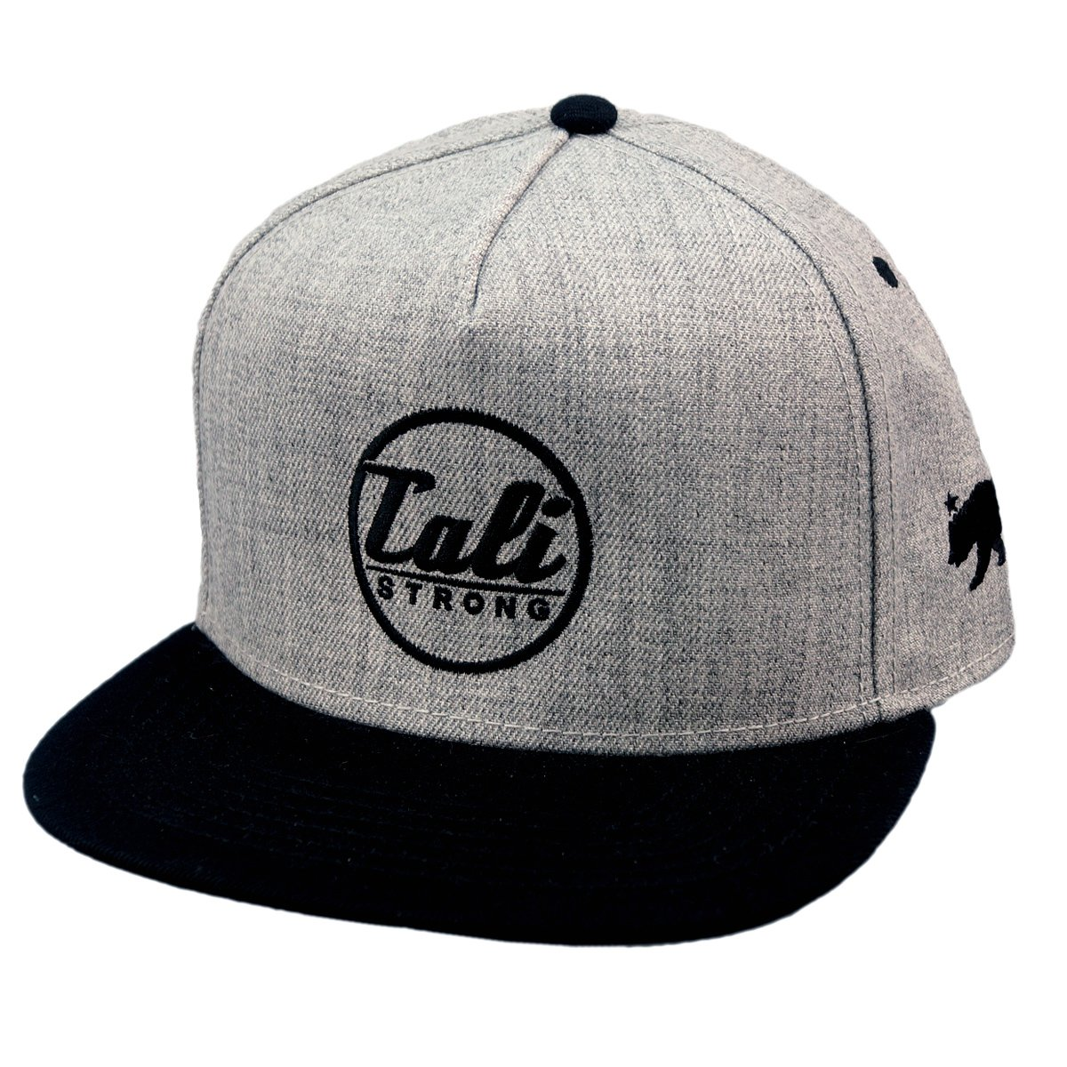CALI Classic Black Grey Heather Flat Bill Snapback