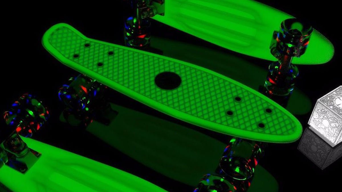 Glow-in-Dark Pink Penny Board Mini Cruiser & LED Light Wheels