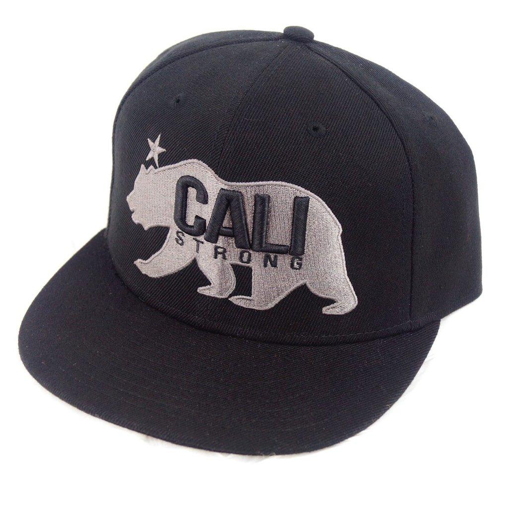 CALI Strong West Coast Grey Black Flat Bill Snapback Cap