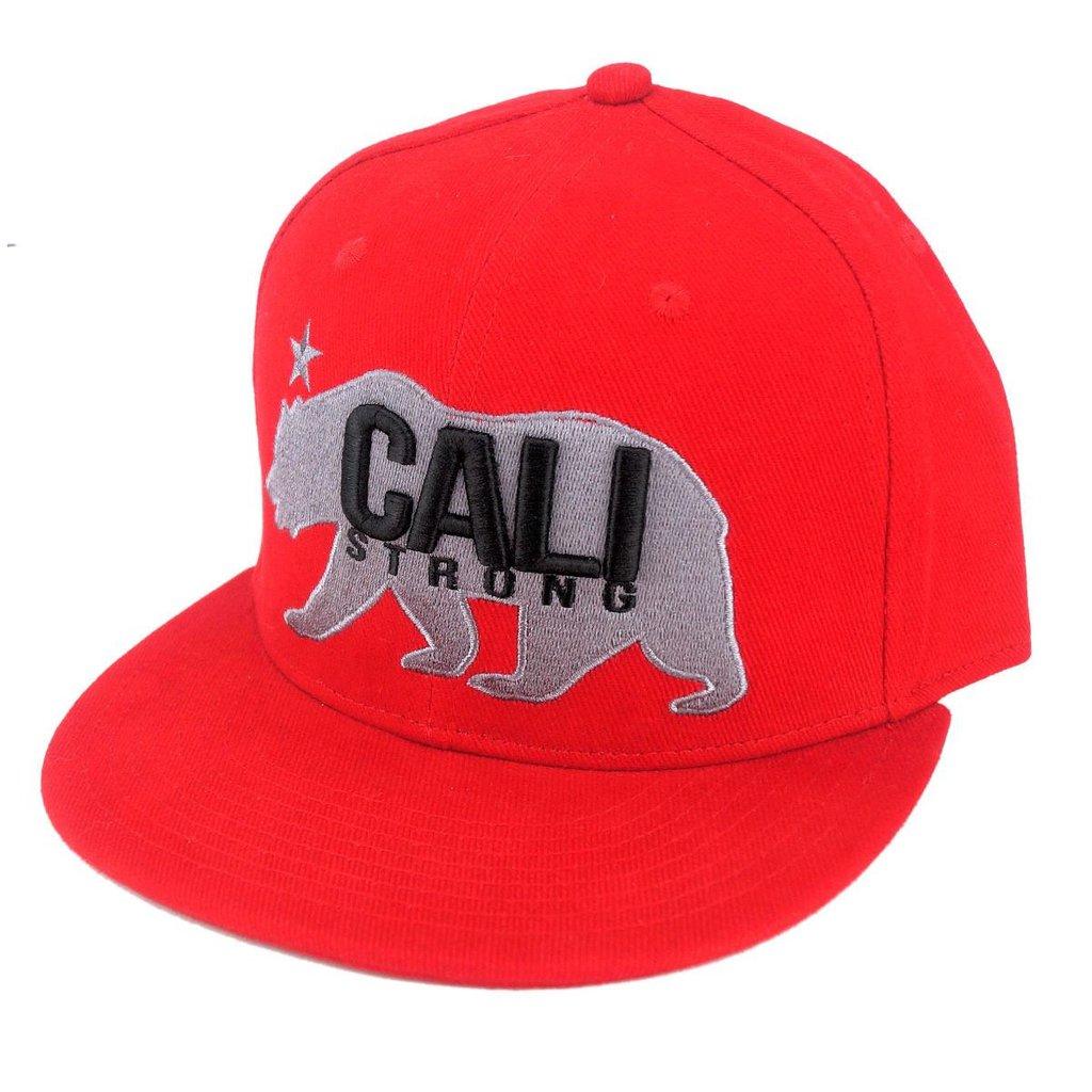 CALI Strong West Coast Grey Red Flat Bill Snapback Cap