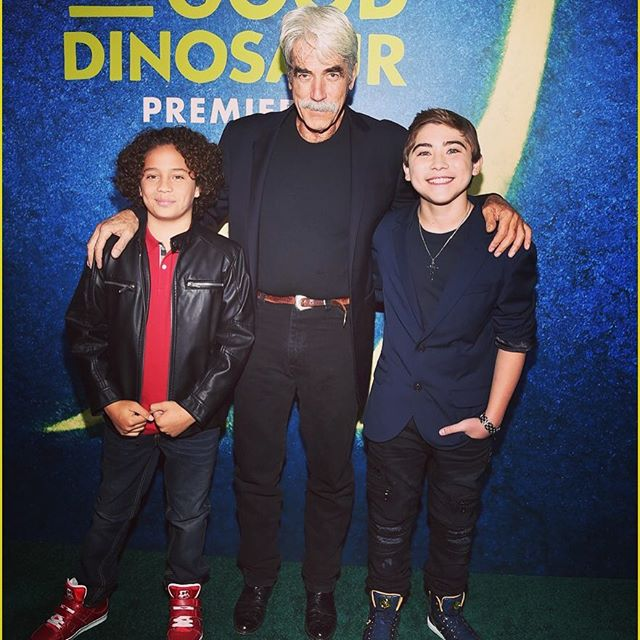 "Stars of the movie ""The Good Dinosaur"": Jack Bright, Sam Elliott and Raymond Ochoa"