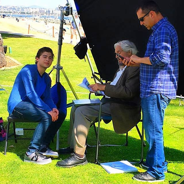 """Ryan Ochoa with Hal Linden on the set of """"The Samuel Project"""""""