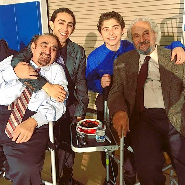 "Ken Davitian, Mateo Arias, Ryan Ochoa, and Hal Linden in ""The Samuel Project"""