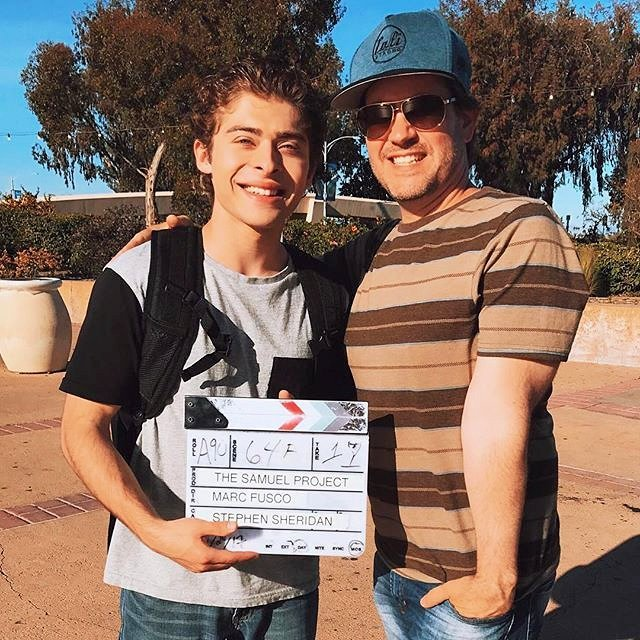 "Ryan Ochoa with director Marc Fusco on the film ""The Samuel Project"""