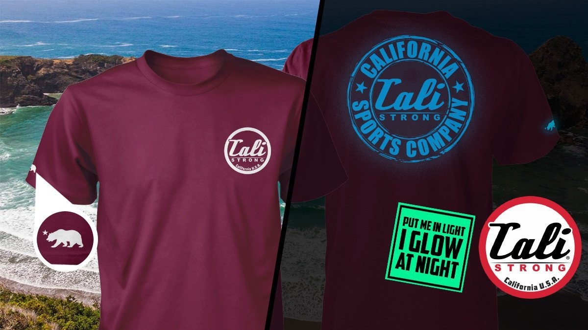 CSC Classic Glow In The Dark T Shirt Burgundy