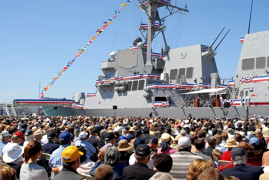 The guided-missile destroyer USS Stockdale is commissioned at Naval Base Ventura County