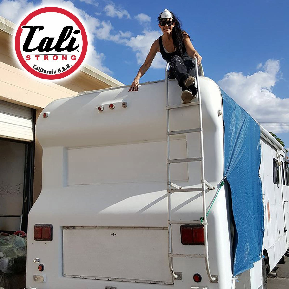 CALI Strong's Mobile Pop-Up Store is a 1969 vintage Dodge RV being worked on by Jennifer Echeverria, the company's founder and chairman.