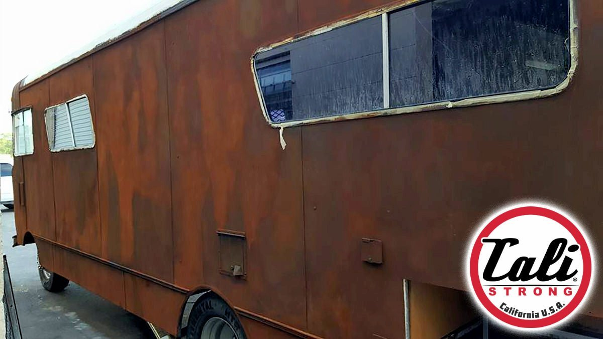CALI Strong's Mobile Retail Truck has a rusted and patina finish.