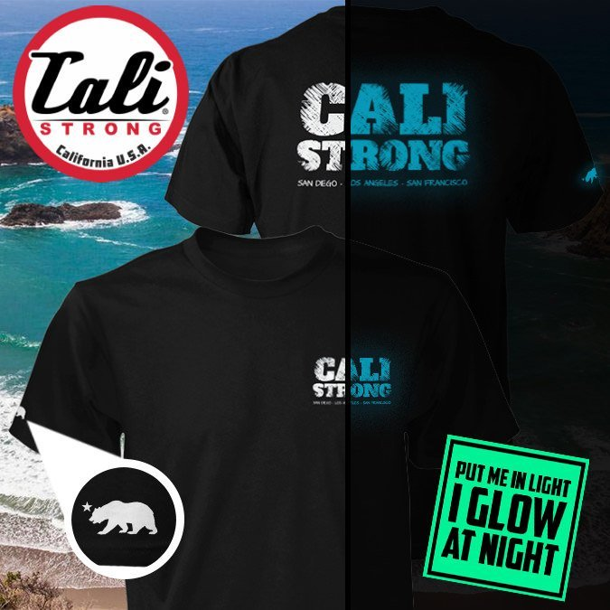 CALI Strong Block Glow In The Dark T-shirt Black