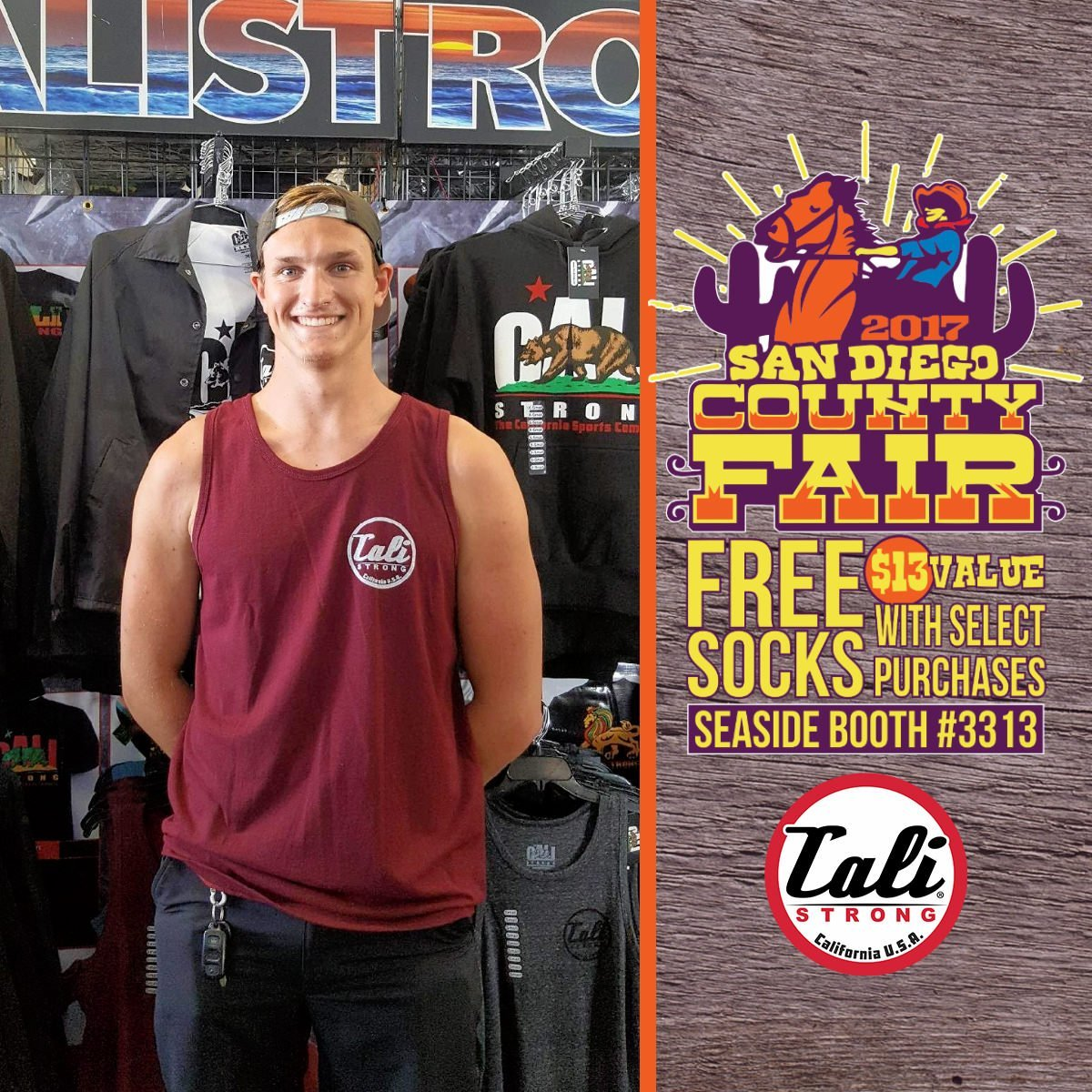 Check out Hunter in his new maroon heather tank from CALI Strong at the San Diego County Fair Seaside Tent Booth 3313!