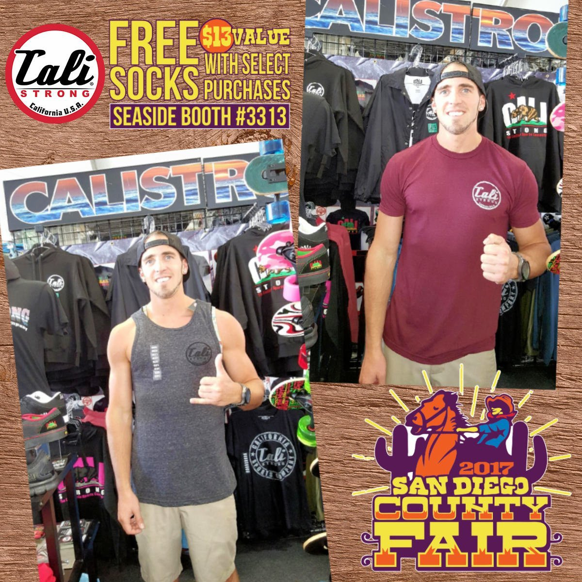 Jake Kiefer who works at Play It Again Sports (Pacific Beach) visited CALI Strong at San Diego County Fair Seaside Booth #3313
