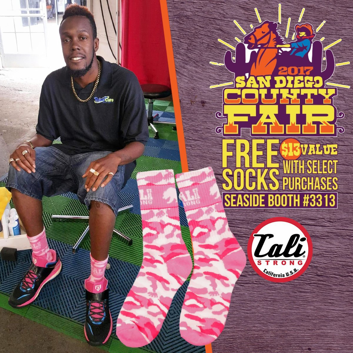 At the San Diego County Fair Seaside Tent Booth 3313, Kenny rockin' the Pink CALI Strong Camo Socks!