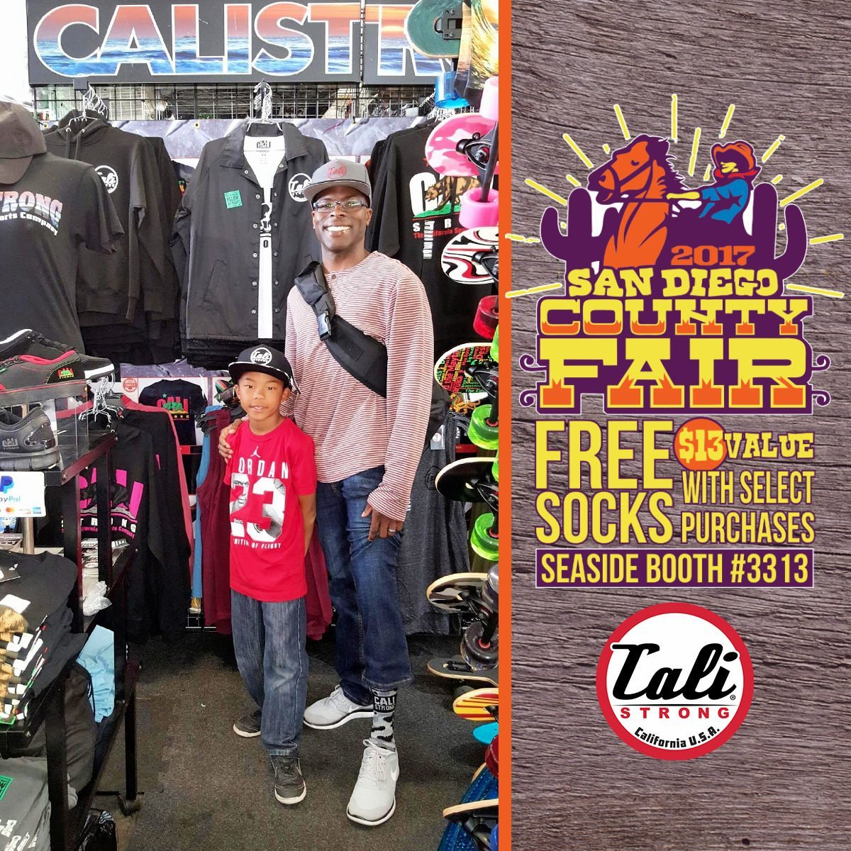 At the San Diego County Fair Seaside Tent Booth 3313, check out our return customer sportin' his hat and grey camo socks buyin' the next generation of Cali Strong reppin'. Michael says Cali Strong is one of his favorite brands!