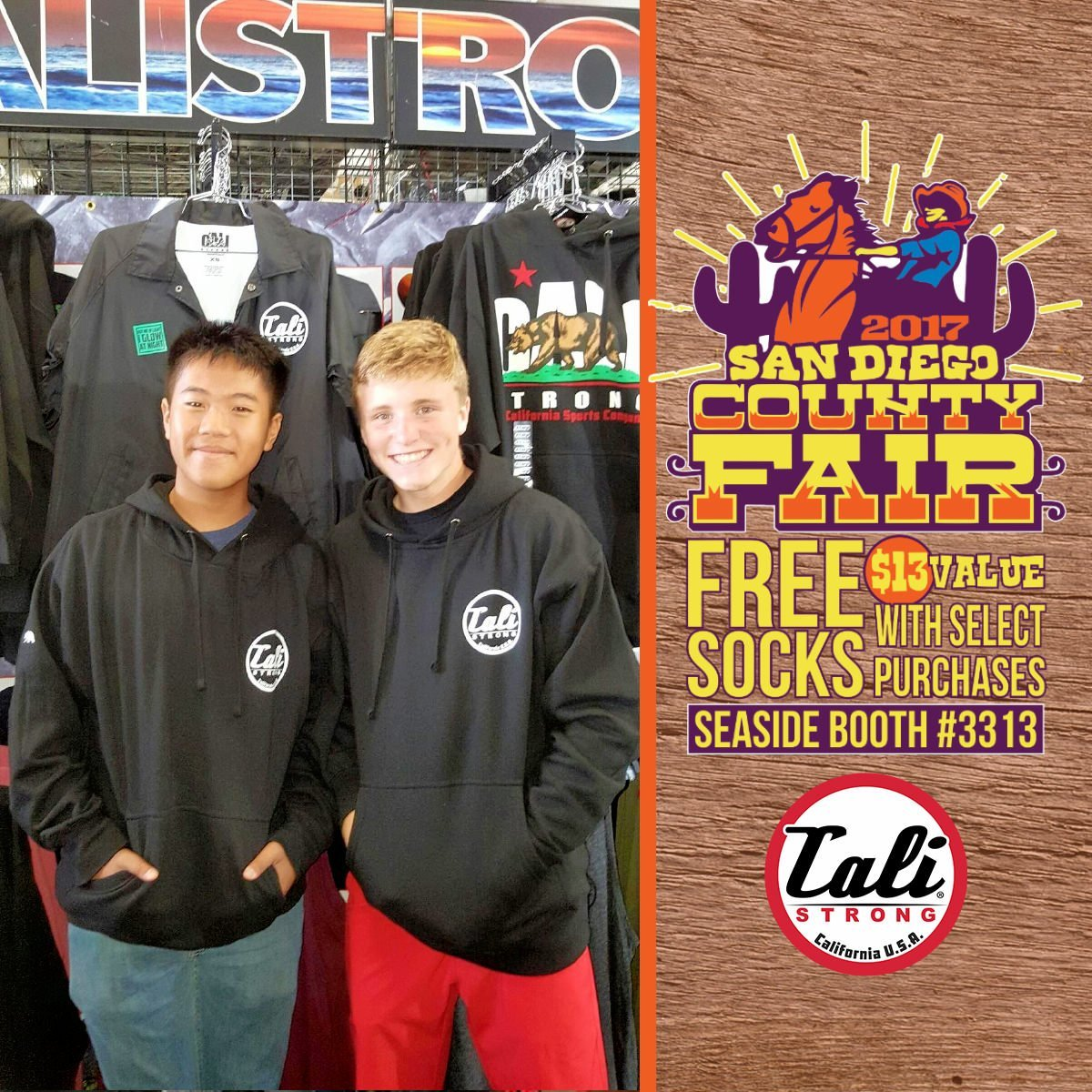 Bros sportin glow in the dark hoodies from CALI Strong at the San Diego County Fair Seaside Tent Booth 3313!