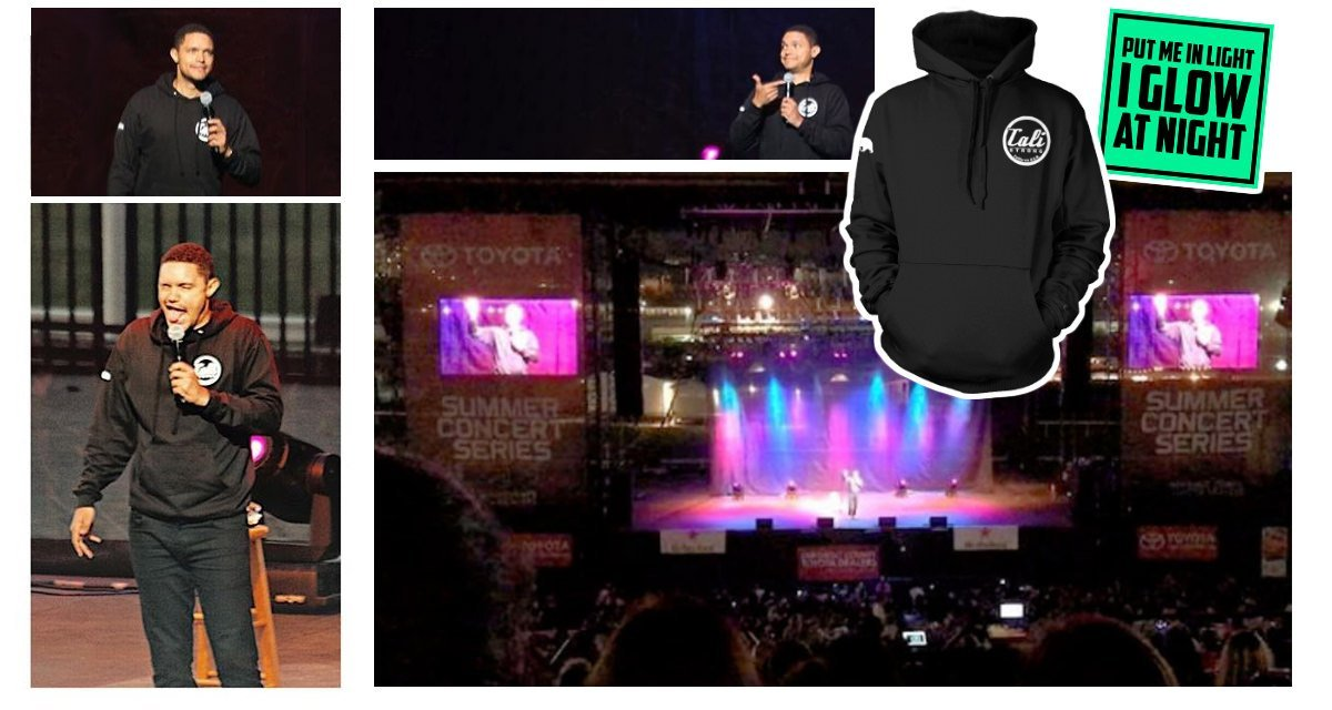 Trevor Noah Wears CALI Strong's Glow Hoodie At The San Diego County Fair!