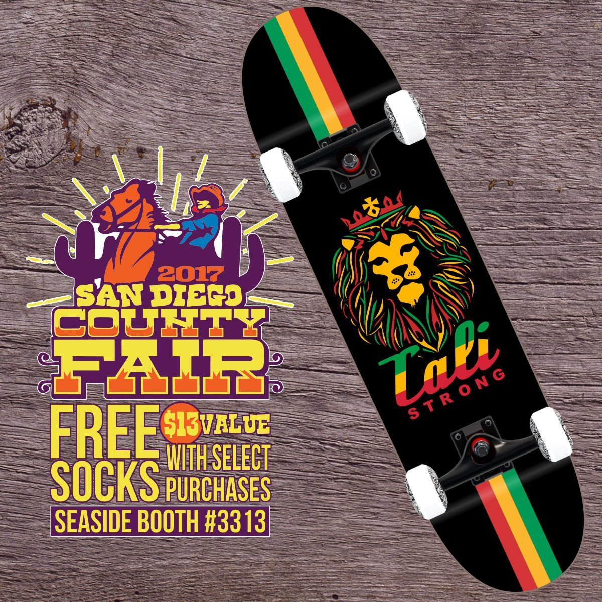 FREE Socks with any skateboard purchase at the San Diego County