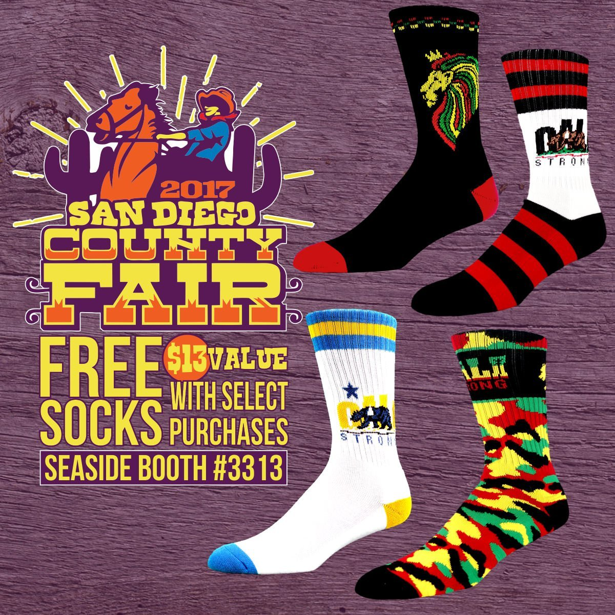 FREE Socks with select purchases at the San Diego County Fair!