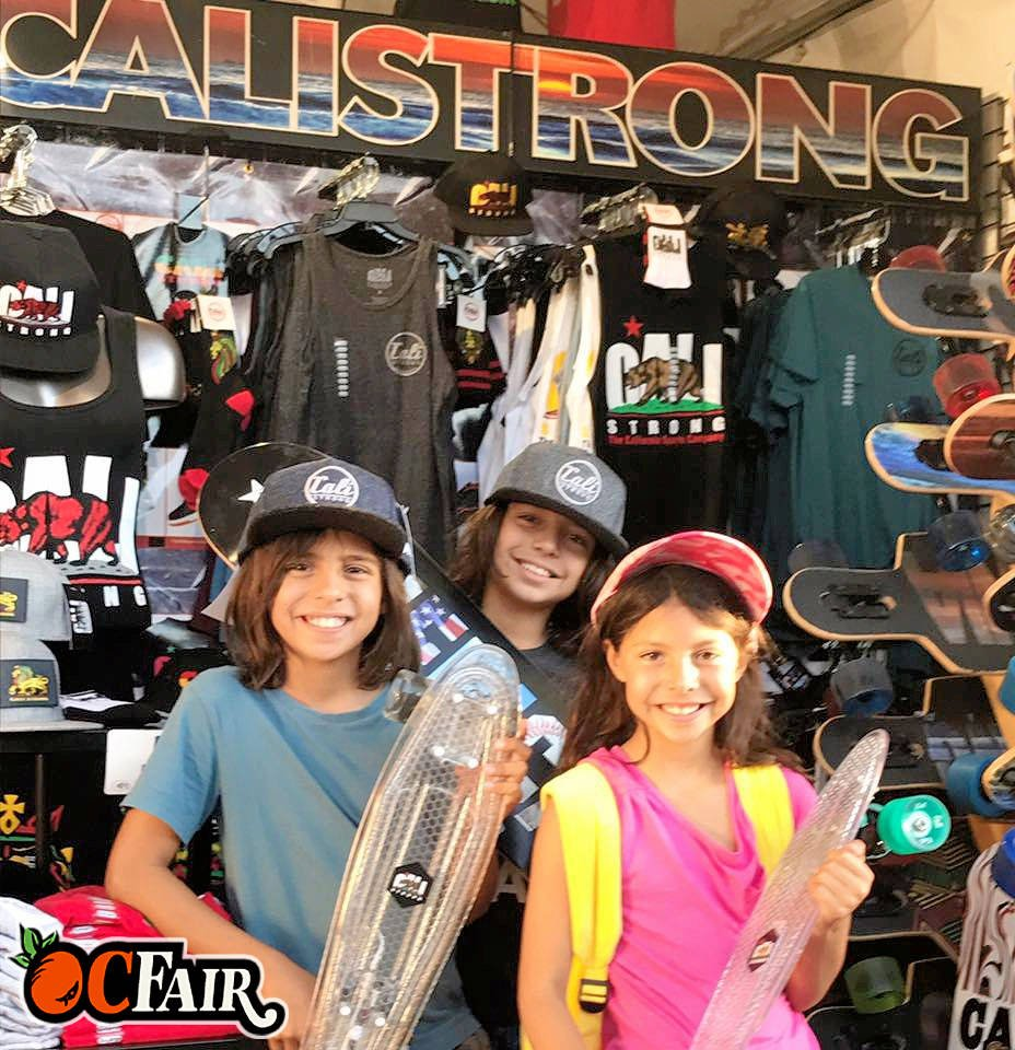 Honored to serve this #firstresponder family who picked up #skateboards and #hats from CALI Strong at the @oc_fair @davidleerocks2000 @katylee_unicorns @maria4000