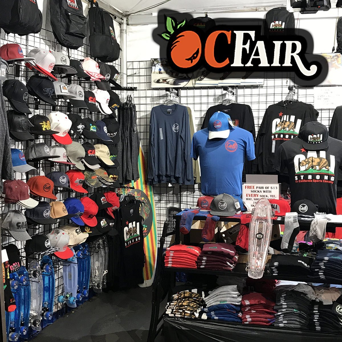 FREE Socks with any CALI Strong Hat, T-shirt, Shoe, Hoodie, Skateboard or Jacket purchased at the OC Fair! Find us on OC Lane Booth #15 in Crafter's Village. Visit the fair for Fan VIP Discounts & Special Fair Only Exclusives!