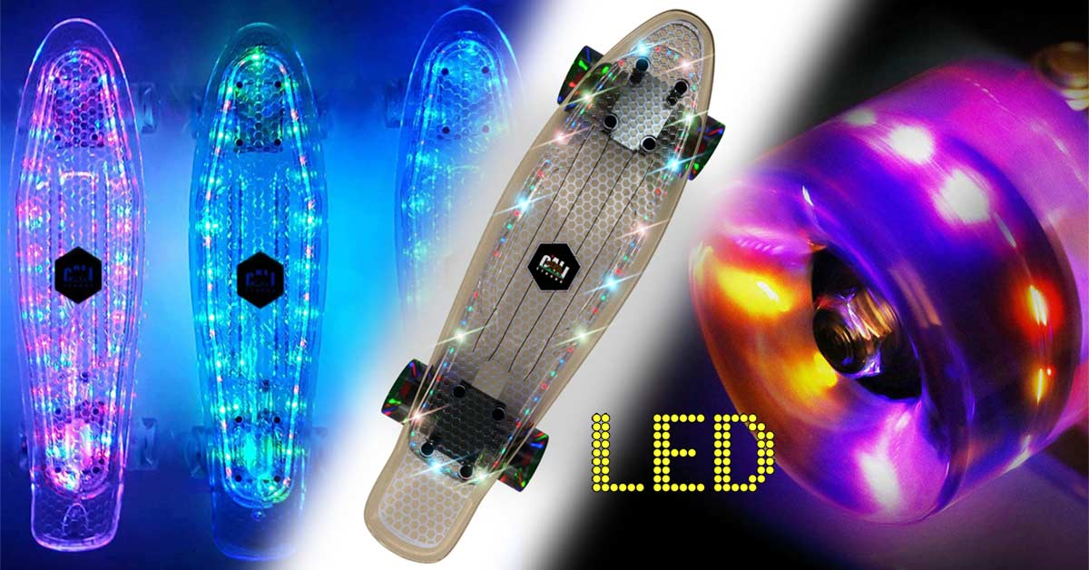 "CALI Strong LED Light Clear Penny Board Style 22"" Mini Cruiser & LED Light Wheels"